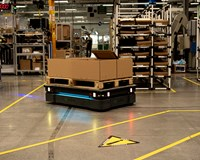 A MiR500 robot lowers transport costs at Schneider Electric